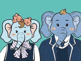 卡通形象大象吉祥物三視圖設計