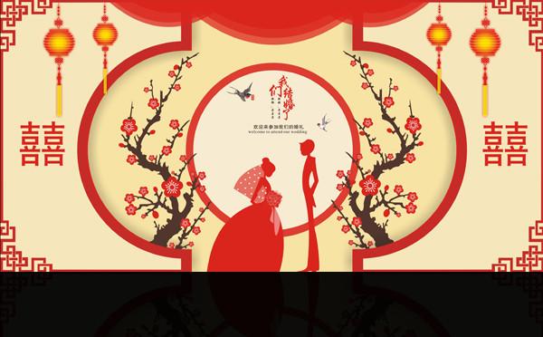 中国风婚礼舞台背景设计