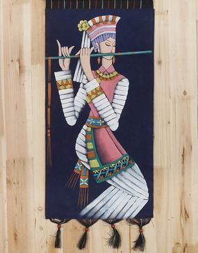 吹笛的少数民族美女油画