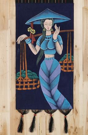 挑担子的少数民族美女油画
