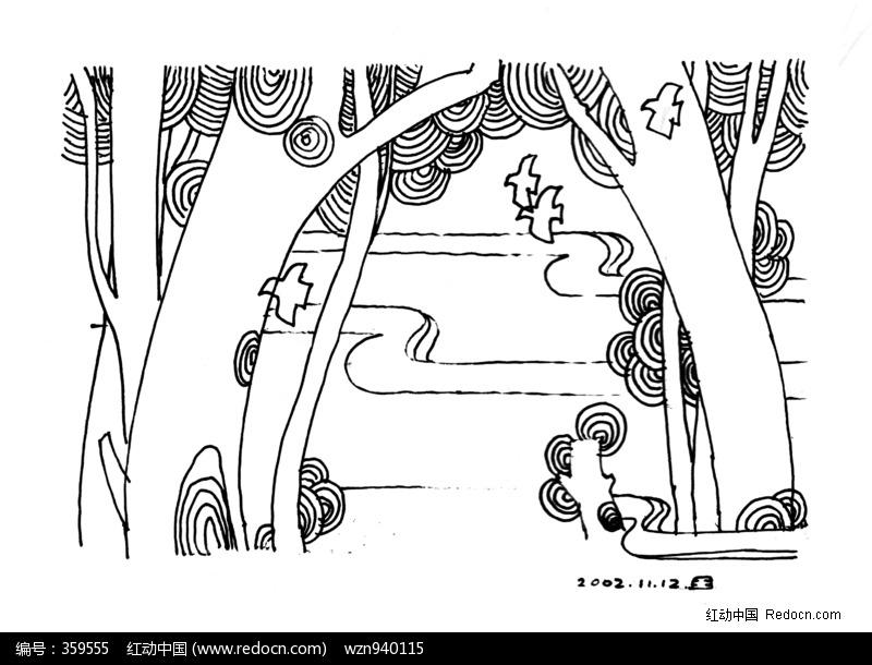 手绘简单森林图片黑白