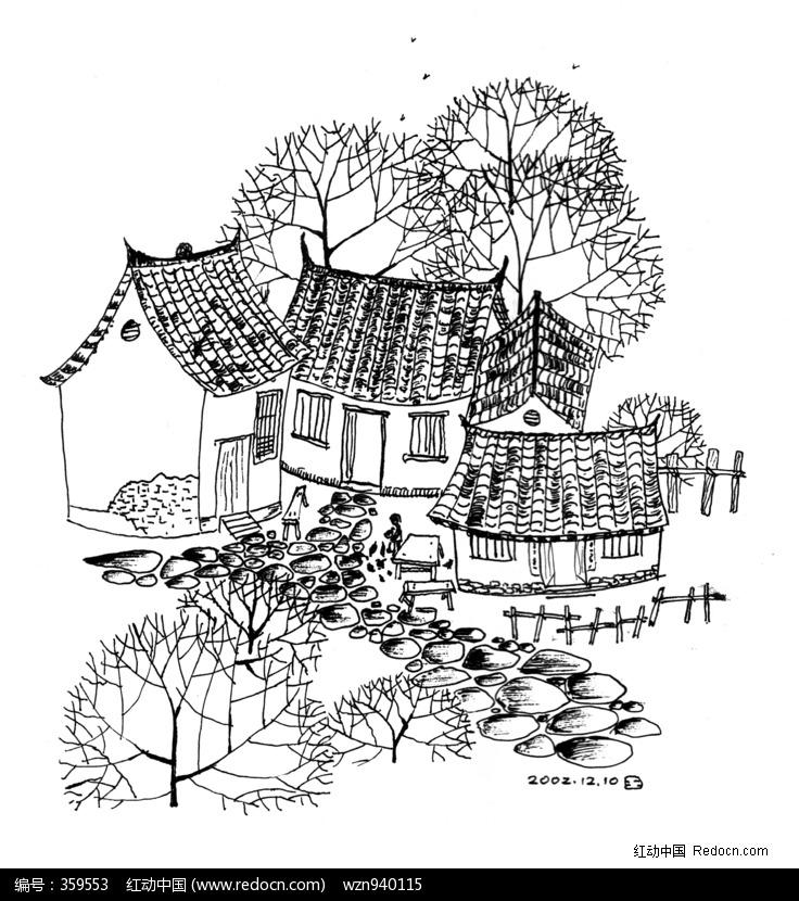 黑白插画-农家小院图片