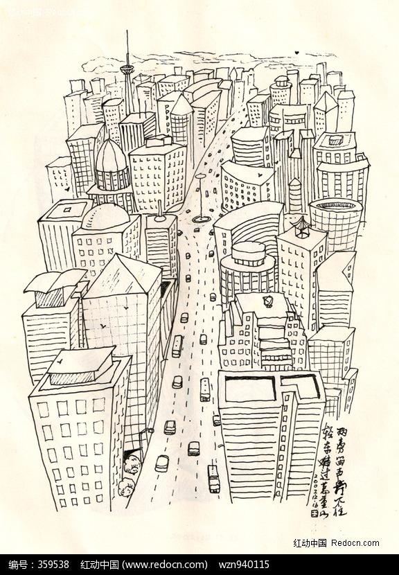 黑白手绘简单城市