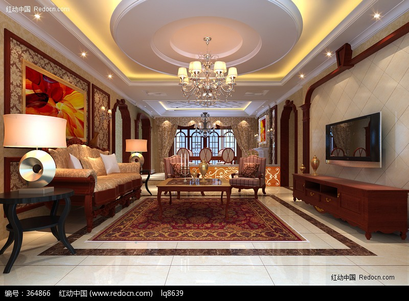 深色欧式客厅图片,高清大图