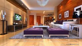 木地板沙发背景效果