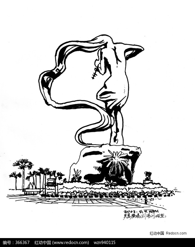 景观雕塑手绘插画-浏阳河图片