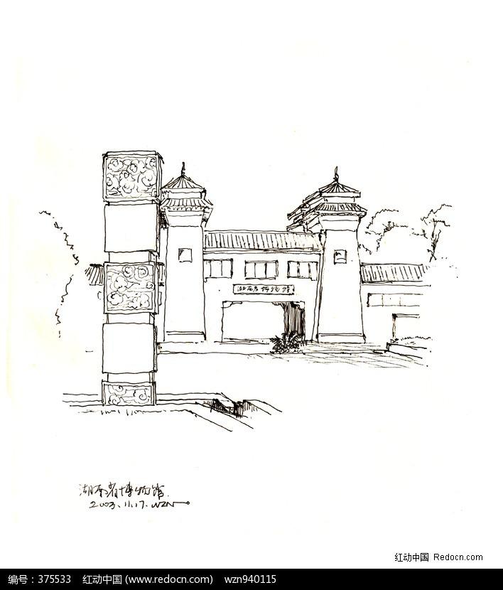 手绘钢笔画风景写生; 建筑小景黑白插画图片