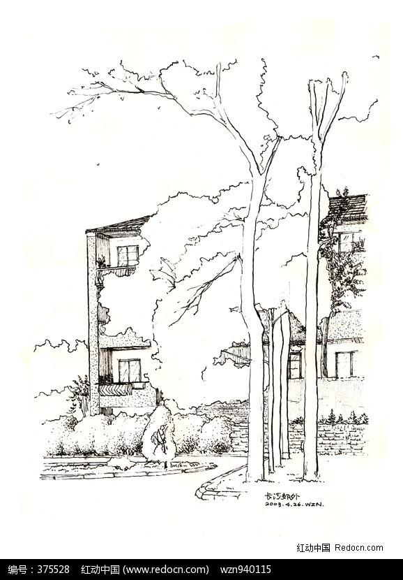 建筑小景速写钢笔画图片