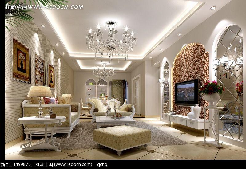 欧式客厅效果图制作图片,高清大图_家庭装潢素材_编号图片