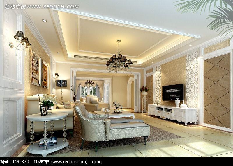 室内设计豪华欧式客厅效果图制作图片