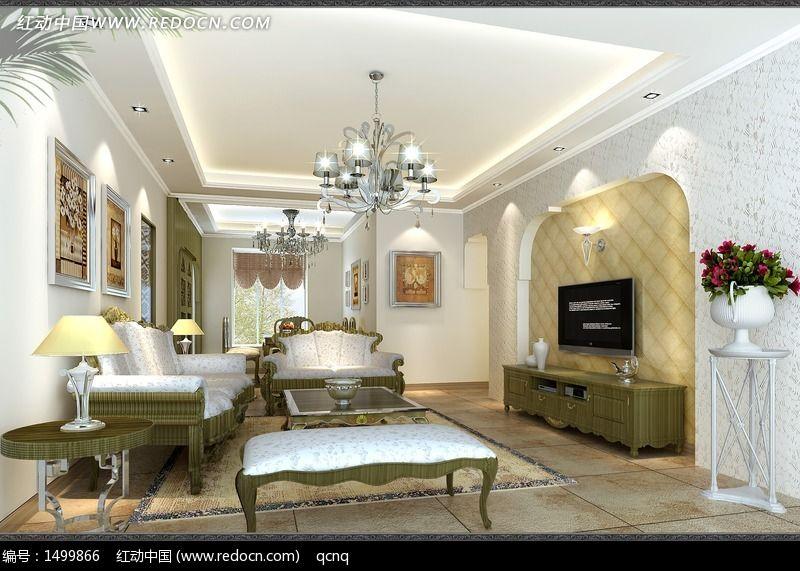 欧式地中海室内设计豪华客厅效果图制作图片