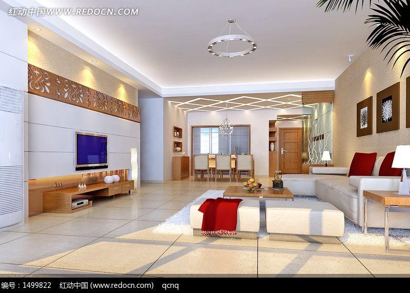 室内设计豪华客厅效果图制作高清图片下载_红动网