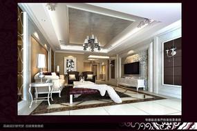 豪华欧式室内设计豪华客厅效果图制作