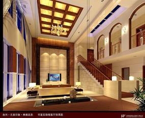 中式复式客厅设计效果图