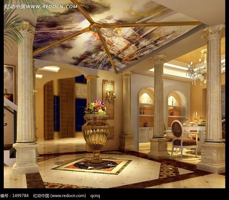 欧式室内设计豪华大厅效;图片
