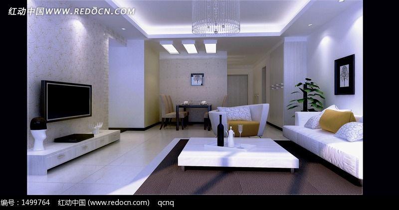 白色室内设计豪华客厅效果图制作图片
