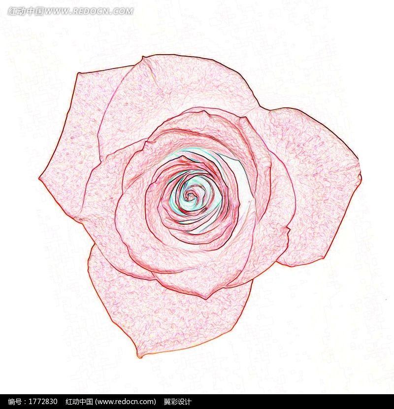 彩色手绘风格玫瑰花