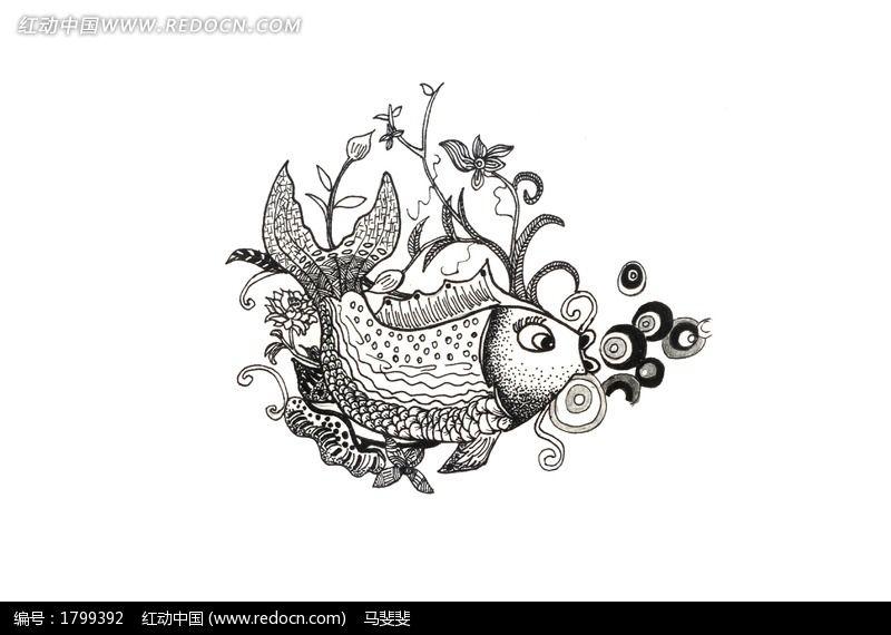 鱼的装饰纹样手稿图片,高清大图_插画绘画素材