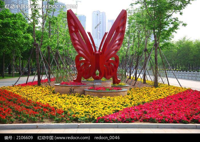 蝴蝶花卉景观造型图片