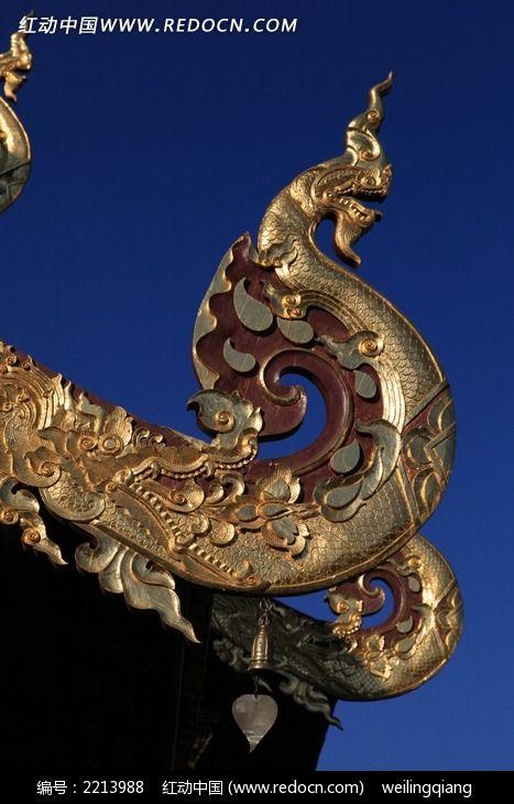 泰式庙宇naga龙屋角图片