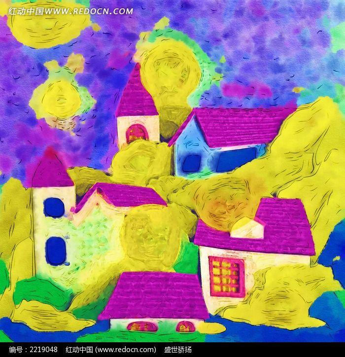 卡通房屋水彩画图片