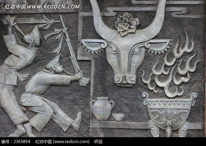 少数民族图案浮雕图片