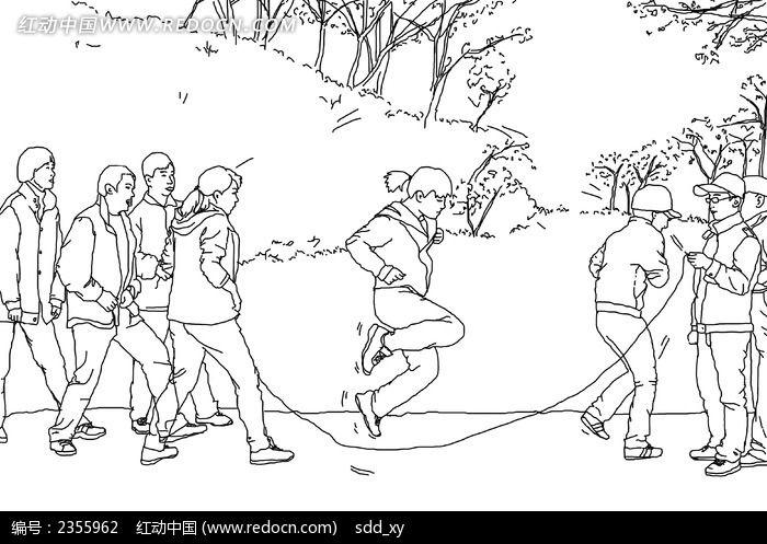 跳大绳白描手绘图片