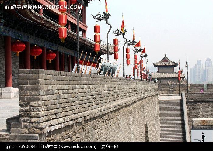 西安古城墙风光图片_建筑摄影图片