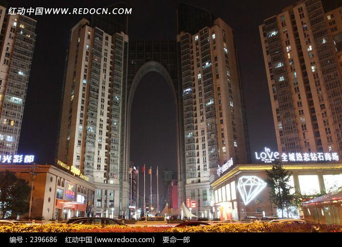 万家灯火的松台广场图片,高清大图_城市风光素材