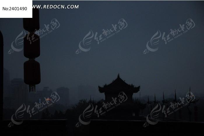 古城灯笼剪影图片图片