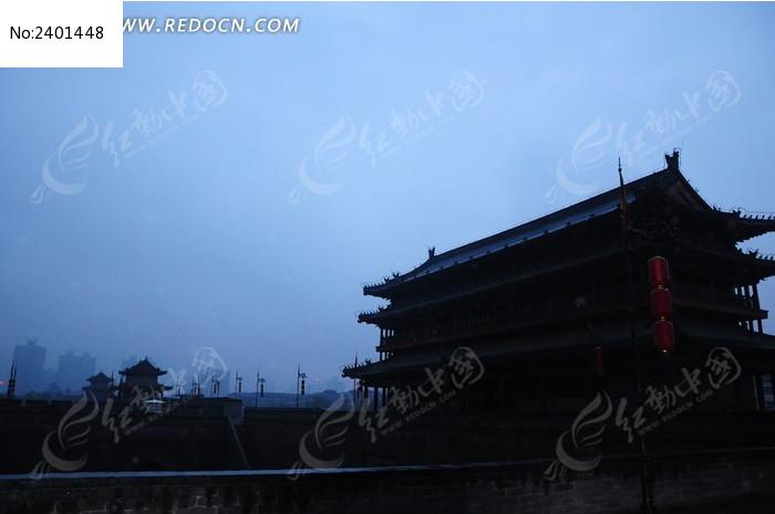 西安古城剪影图片_建筑摄影图片图片