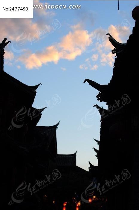 丽江古城飞檐剪影图片图片