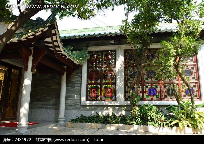广州南园的外墙满洲窗高清图片下载_红动网
