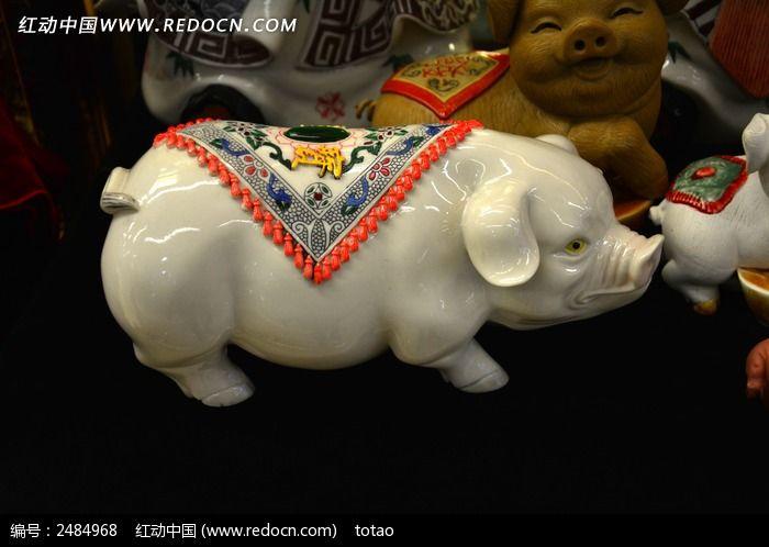 白陶瓷福猪图片,高清大图_手工艺品素材