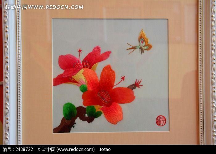 刺绣画木棉花图片