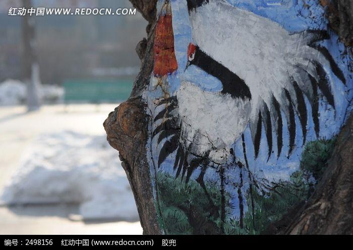 树上精美的仙鹤绘画图片