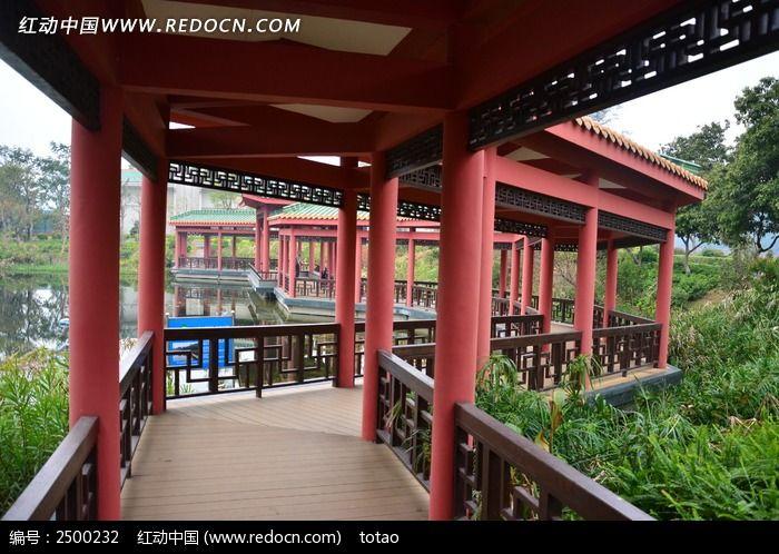广州珠岛宾馆红色古长廊图片