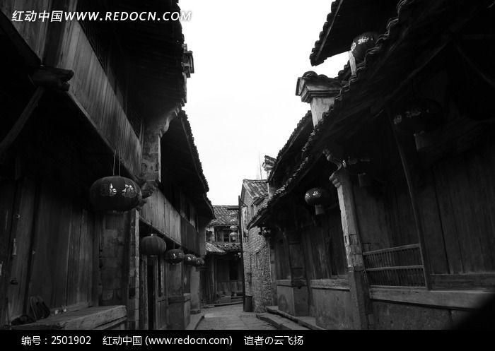 古街黑白剪影图片