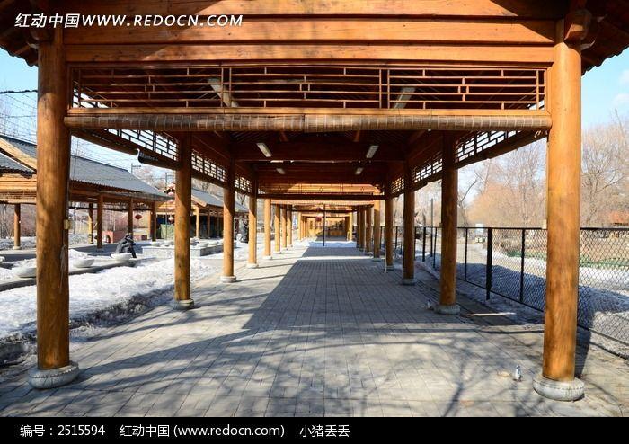木制长廊图片_建筑摄影图片
