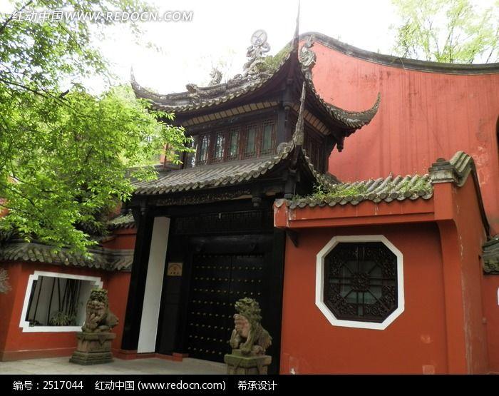 都江堰 历史公园 文化公园 楼台 庙宇 青瓦 屋檐图片