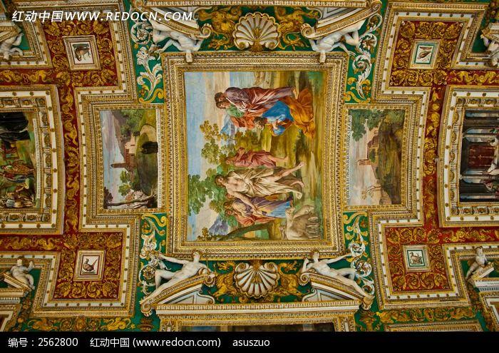 欧式教堂顶部油画图片