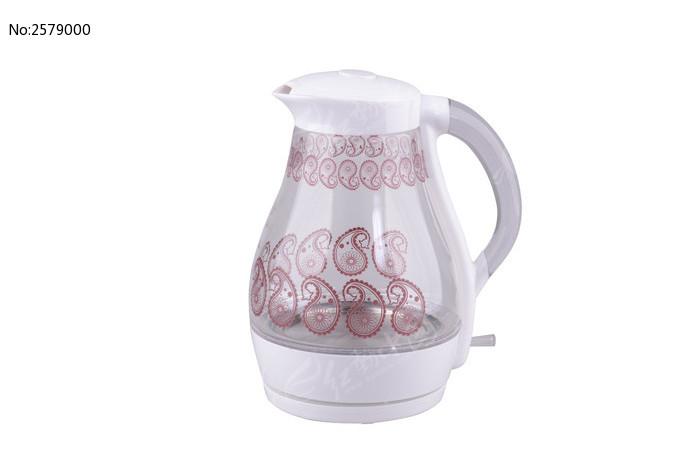 白色印花玻璃电热水壶