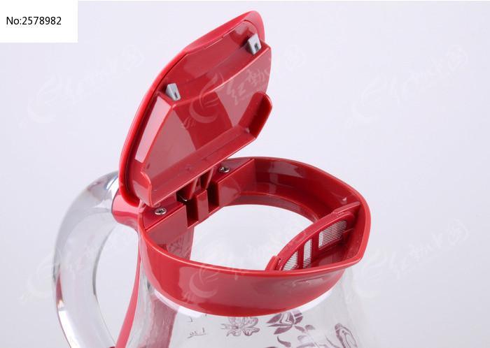 玻璃印花红色电热水壶口特写