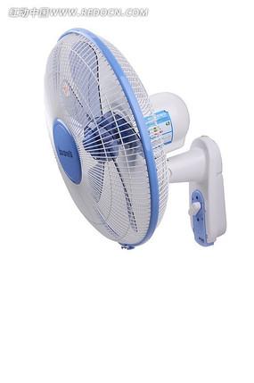 蓝色墙挂式电风扇45度高清图