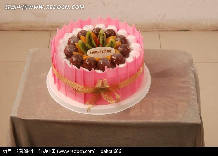 西式奶油水果生日蛋糕图片-美食图库|图片库素材下