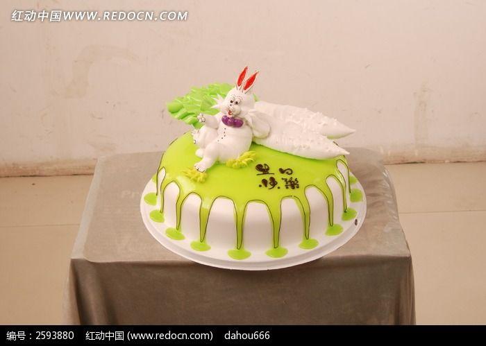 奶油小兔子生日蛋糕