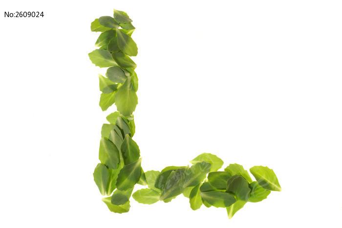 _绿色树叶组成的字母l