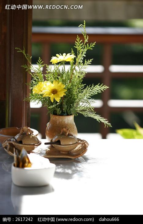 室内绿色植物插花摆设和一套调味器皿图片_动物植物