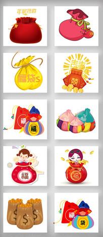 2018春节红包福袋卡通素材