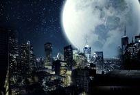 高清哥特风格城市夜空 PSD